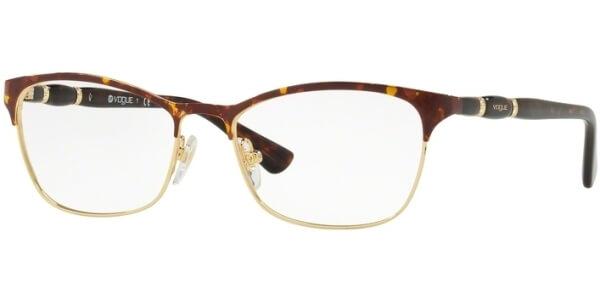Dioptrické brýle Vogue model 3987B, barva obruby hnědá zlatá lesk, stranice hnědá lesk, kód barevné varianty 5078.