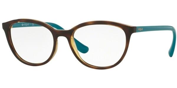Dioptrické brýle Vogue model 5037, barva obruby hnědá lesk, stranice tyrkysová lesk, kód barevné varianty 2393.