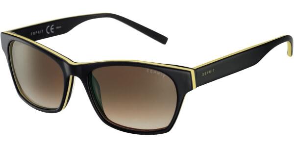 Sluneční brýle Esprit model 17858, barva obruby černá lesk žlutá, čočka hnědá gradál, kód barevné varianty 576.