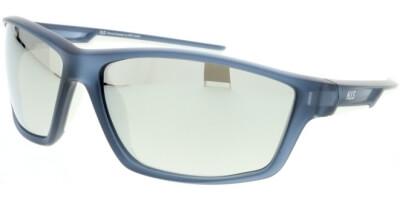Sluneční brýle HIS model 07107, barva obruby modrá mat, čočka stříbrná zrcadlo polarizovaná, kód barevné varianty 3.