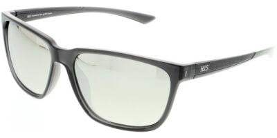 Sluneční brýle HIS model 07109, barva obruby černá lesk, čočka stříbrná zrcadlo polarizovaná, kód barevné varianty 3.