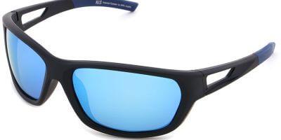 Sluneční brýle HIS model 27102, barva obruby černá mat modrá, čočka modrá zrcadlo polarizovaná, kód barevné varianty 1.