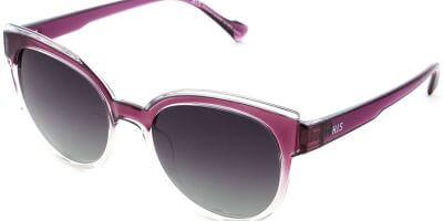 Sluneční brýle HIS model 28112, barva obruby růžová lesk čirá, čočka šedá gradál polarizovaná, kód barevné varianty 1.
