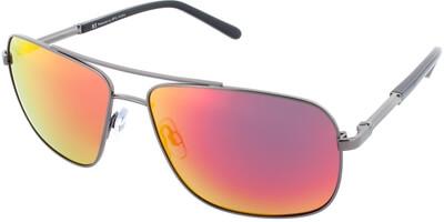 Sluneční brýle HIS model 64102, barva obruby stříbrná lesk černá, čočka červená zrcadlo polarizovaná, kód barevné varianty 1.