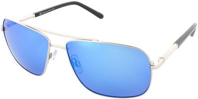 Sluneční brýle HIS model 64102, barva obruby stříbrná mat černá, čočka modrá zrcadlo polarizovaná, kód barevné varianty 3.