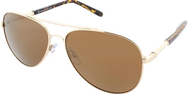 Sluneční brýle HIS model 64105, barva obruby zlatá lesk hnědá, čočka zlatá zrcadlo polarizovaná, kód barevné varianty 1.