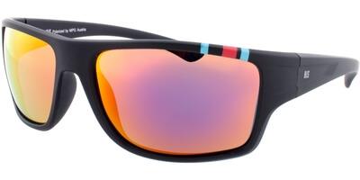 Sluneční brýle HIS model 77103, barva obruby černá mat modrá červená, čočka červená zrcadlo polarizovaná, kód barevné varianty 1.