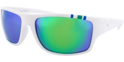 Sluneční brýle HIS model 77103, barva obruby bílá mat modrá zelená, čočka zelená zrcadlo polarizovaná, kód barevné varianty 2.