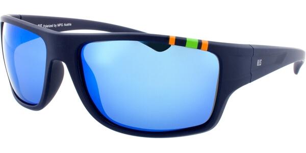 Sluneční brýle HIS model 77103, barva obruby modrá mat oranžová zelená, čočka modrá zrcadlo polarizovaná, kód barevné varianty 3.