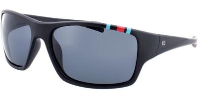 Sluneční brýle HIS model 77104, barva obruby černá mat modrá červená, čočka šedá polarizovaná, kód barevné varianty 1.