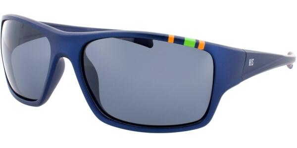 Sluneční brýle HIS model 77104, barva obruby modrá mat oranžová zelená, čočka modrá polarizovaná, kód barevné varianty 2.