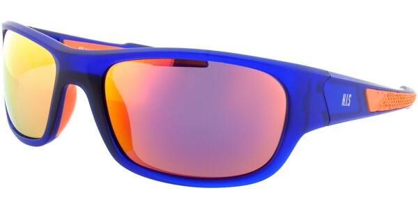 Sluneční brýle HIS model 77105, barva obruby modrá mat oranžová, čočka oranžová zrcadlo polarizovaná, kód barevné varianty 3.