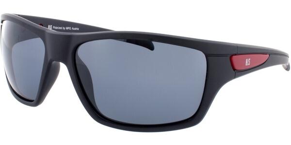 Sluneční brýle HIS model 77107, barva obruby černá mat červená, čočka šedá polarizovaná, kód barevné varianty 1.
