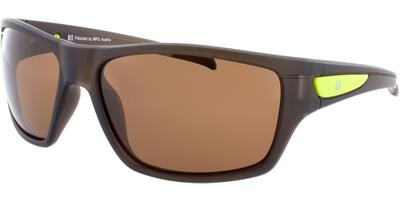 Sluneční brýle HIS model 77107, barva obruby hnědá mat zelená, čočka hnědá polarizovaná, kód barevné varianty 2.