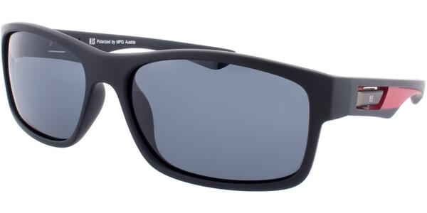 Sluneční brýle HIS model 77108, barva obruby černá mat červená, čočka šedá polarizovaná, kód barevné varianty 2.