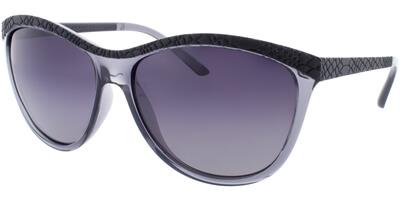 Sluneční brýle HIS model 78115, barva obruby černá mat čirá, čočka šedá gradál polarizovaná, kód barevné varianty 1.