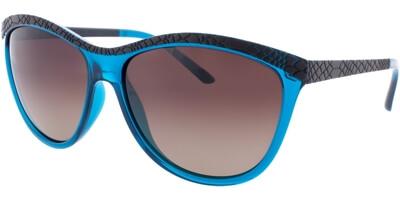 Sluneční brýle HIS model 78115, barva obruby černá mat tyrkysová, čočka hnědá gradál polarizovaná, kód barevné varianty 3.