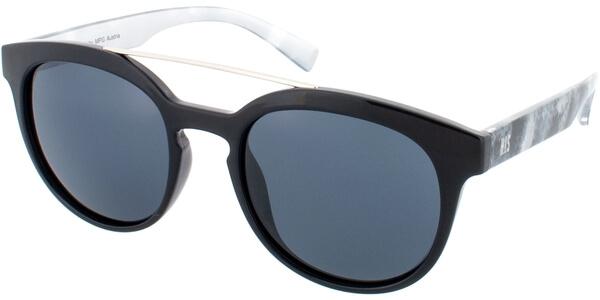 Sluneční brýle HIS model 78128, barva obruby černá lesk stříbrná, čočka šedá polarizovaná, kód barevné varianty 1.