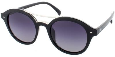 Sluneční brýle HIS model 78131, barva obruby černá lesk stříbrná, čočka šedá gradál polarizovaná, kód barevné varianty 1.