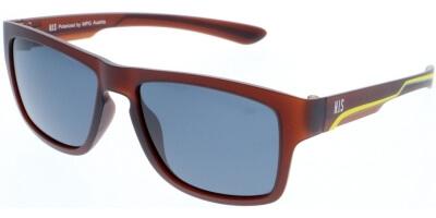 Sluneční brýle HIS model 80103, barva obruby hnědá mat žlutá, čočka šedá polarizovaná, kód barevné varianty 2.