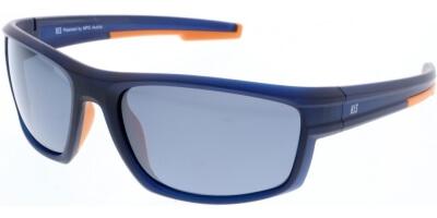 Sluneční brýle HIS model 87101, barva obruby modrá mat oranžová, čočka šedá zrcadlo polarizovaná, kód barevné varianty 3.