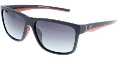Sluneční brýle HIS model 87102, barva obruby černá mat červená, čočka šedá gradál polarizovaná, kód barevné varianty 1.