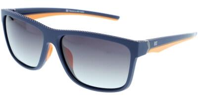 Sluneční brýle HIS model 87102, barva obruby modrá mat oranžová, čočka fialová gradál polarizovaná, kód barevné varianty 2.