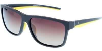 Sluneční brýle HIS model 87102, barva obruby hnědá mat žlutá, čočka hnědá gradál polarizovaná, kód barevné varianty 4.