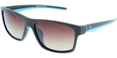 Sluneční brýle HIS model 87103, barva obruby hnědá mat modrá, čočka hnědá gradál polarizovaná, kód barevné varianty 2.