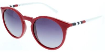Sluneční brýle HIS model 88117, barva obruby červená lesk bílá, čočka fialová gradál polarizovaná, kód barevné varianty 5.