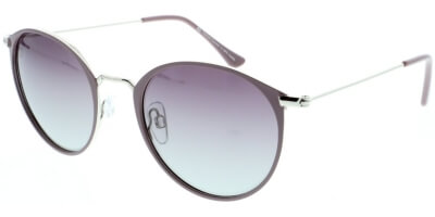 Sluneční brýle HIS model 94106, barva obruby fialová lesk stříbrná, čočka fialová gradál polarizovaná, kód barevné varianty 3.