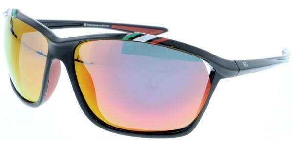 Sluneční brýle HIS model 97100, barva obruby černá lesk, čočka modrá zrcadlo polarizovaná, kód barevné varianty 1.