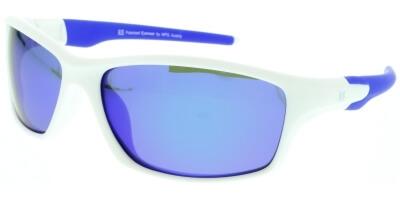 Sluneční brýle HIS model 97101, barva obruby bílá mat modrá, čočka modrá zrcadlo polarizovaná, kód barevné varianty 1.