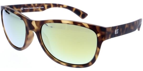 Sluneční brýle HIS model 97109, barva obruby hnědá mat, čočka zlatá zrcadlo polarizovaná, kód barevné varianty 2.