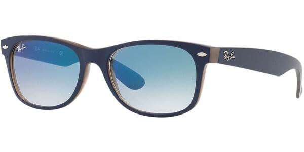 Sluneční brýle Ray-Ban® model 2132, barva obruby modrá mat hnědá, čočka tyrkysová zrcadlo gradál, kód barevné varianty 63083F.