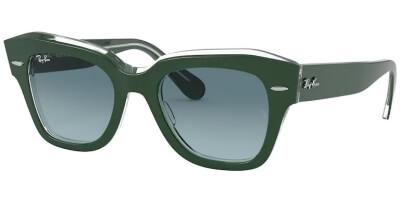 Sluneční brýle Ray-Ban® model 2186, barva obruby zelená lesk čirá, čočka šedá gradál, kód barevné varianty 12953M.