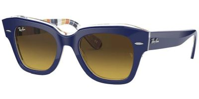 Sluneční brýle Ray-Ban® model 2186, barva obruby modrá lesk oranžová, čočka hnědá gradál, kód barevné varianty 132085.