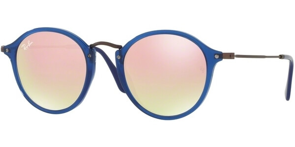 Sluneční brýle Ray-Ban® model 2447N, barva obruby modrá lesk šegá, čočka růžová zrcadlo gradál, kód barevné varianty 62547O.