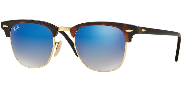 Sluneční brýle Ray-Ban® model 3016, barva obruby hnědá lesk zlatá, čočka modrá zrcadlo gradál, kód barevné varianty 9907Q.