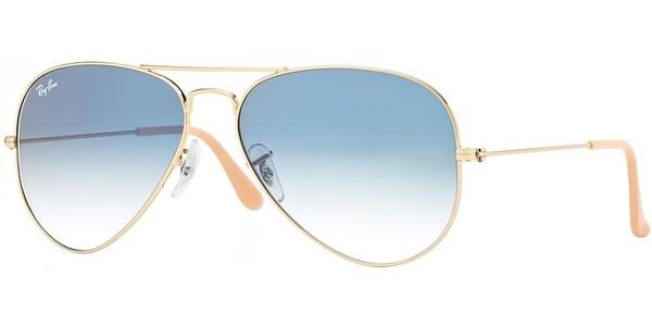 Sluneční brýle Ray-Ban® model 3025, barva obruby zlatá lesk, čočka modrá gradál, kód barevné varianty 0013F.