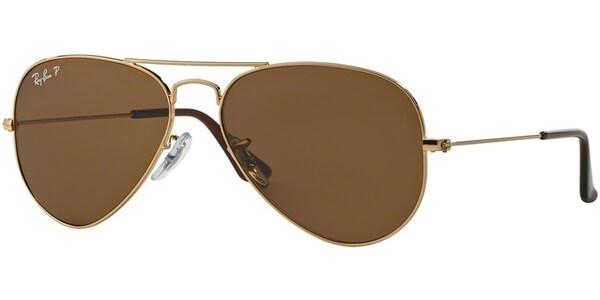 Sluneční brýle Ray-Ban® model 3025, barva obruby zlatá lesk, čočka hnědá polarizovaná, kód barevné varianty 00157.