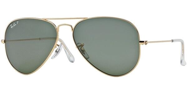 Sluneční brýle Ray-Ban® model 3025, barva obruby zlatá lesk, čočka zelená polarizovaná, kód barevné varianty 00158.