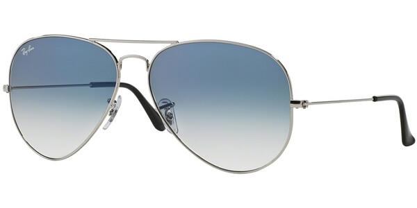 Sluneční brýle Ray-Ban® model 3025, barva obruby stříbrná lesk, čočka modrá gradál, kód barevné varianty 0033F.