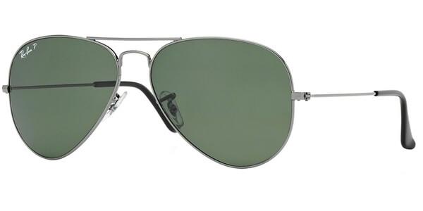 Sluneční brýle Ray-Ban® model 3025, barva obruby stříbrná, čočka zelená polarizovaná, kód barevné varianty 00458.