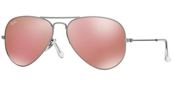 Sluneční brýle Ray-Ban® model 3025, barva obruby stříbrná mat, čočka růžová zrcadlo, kód barevné varianty 019Z2.