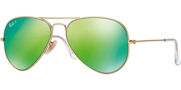 Sluneční brýle Ray-Ban® model 3025, barva obruby zlatá mat zelená, čočka zelená zrcadlo, kód barevné varianty 11219.