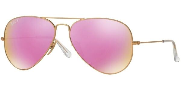 Sluneční brýle Ray-Ban® model 3025, barva obruby zlatá mat, čočka růžová zrcadlo polarizovaná, kód barevné varianty 1121Q.