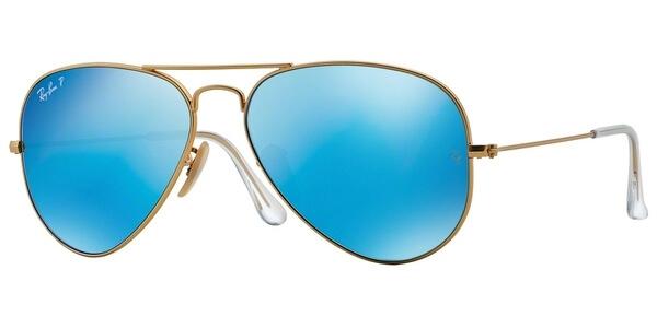 Sluneční brýle Ray-Ban® model 3025, barva obruby zlatá lesk, čočka modrá zrcadlo gradál polarizovaná, kód barevné varianty 1124L.