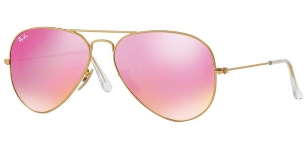 Sluneční brýle Ray-Ban® model 3025, barva obruby zlatá mat, čočka růžová zrcadlo, kód barevné varianty 1124T.