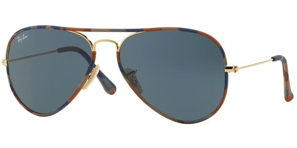 Sluneční brýle Ray-Ban® model 3025, barva obruby hnědá textil zlatá, čočka šedá, kód barevné varianty 170R5.